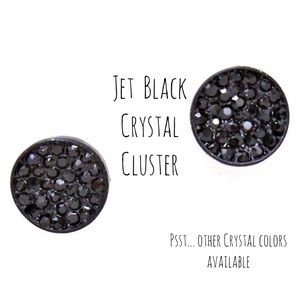 Jet Black Crystal Cluster Earrings,NWT